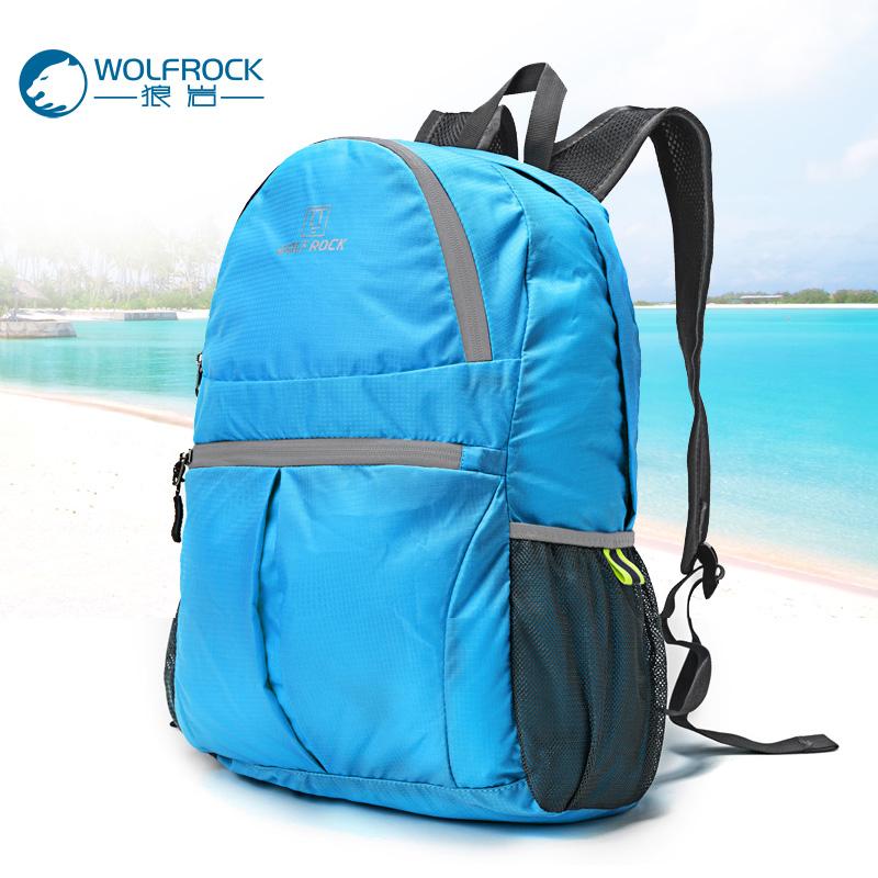 Волк рок кожа пакет на открытом воздухе модельа сверхлегкий путешествие пакет складные пакет рюкзак пакет водонепроницаемый портативный