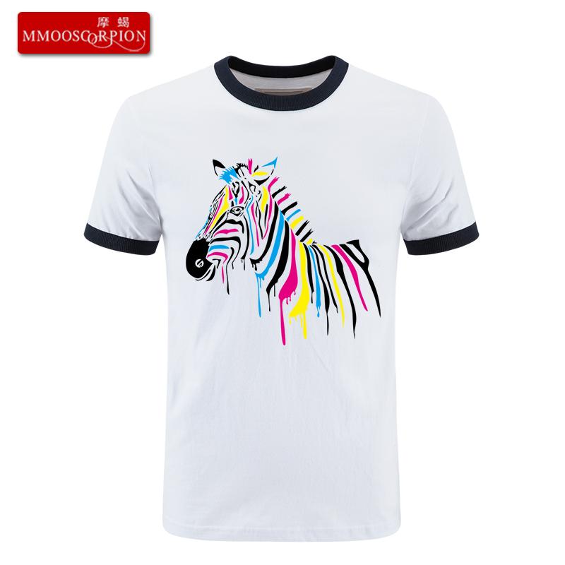 摩蝎 彩色斑马创意简约印花圆领短袖潮男T恤休闲班服宽松加肥大码
