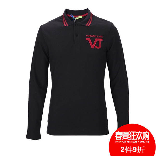 VERSACE JEANS cotton two button placket and a half men long sleeve shirt POLO Intime