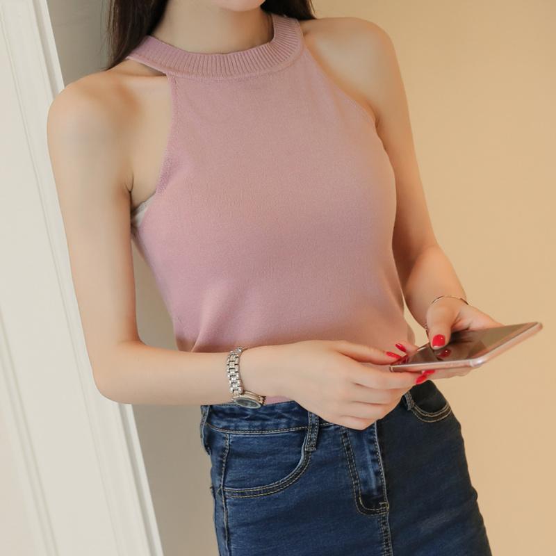 Плечо краткое модель повесить за шею бюстгальтер верхняя одежда безрукавный тонкий поддержка вязание малый с жилетом куртка женщина t футболки летний костюм