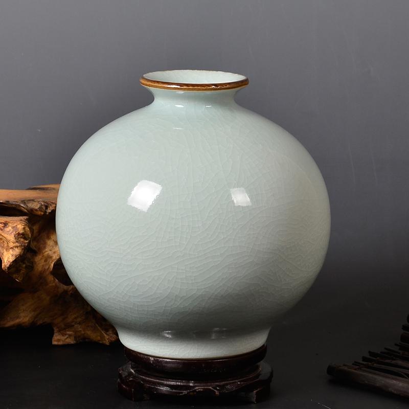 d057景德鎮陶瓷器仿古官窯開片裂紋青釉花瓶古典家飾品客廳擺件