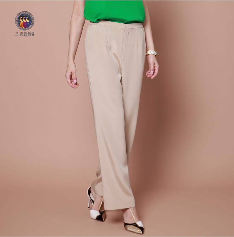 三变钱塘高端正品真丝女裤优雅气质直筒裤 丝绸长裤子 桑蚕丝西裤