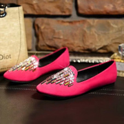 C Europe, Feng Shui diamond women's shoes women low shoes with flat flat with light pointed shoes wave