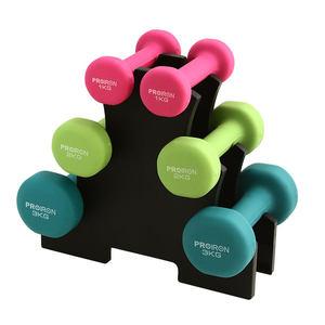 PROIRON浸塑哑铃1-10kg一对女士瘦臂男士家用健身器材儿童小哑铃