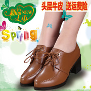 Women's shoes leather chunky heels with leather strap waterproof pointed in 2016 New England spring deep mouth shoe