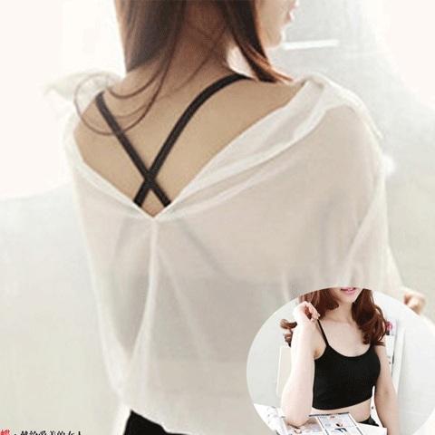 莫代爾短款半截交叉掛脖小吊帶背心帶胸墊 抹胸裹胸 女士運動內衣