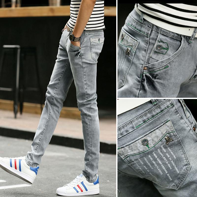 彈力牛仔褲男修身韓版男褲顯瘦夏季超薄款淺色小腳褲時尚褲子潮流