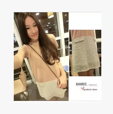 Foreign trade original single splicing LACE SHORT SLEEVE round neck loose waist casual dress cotton short skirt bottom special price clearance