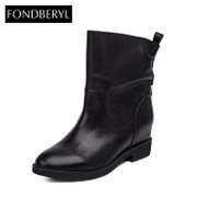 Fondberyl/feibolier 2015 winter new leather high boots shoes FB54112757