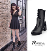 2015 spring new Martin boots, boots high boots with chunky heels boots fashion shoes of England motorcycle boots strap