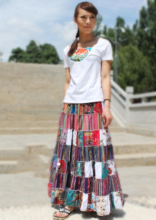 Чешский национальный костюм хлопок цветочные печати контрастного цвета шить ткани Платья Юбки