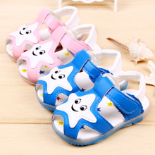A toddler soft bottom shoes non-skid men and women in the summer of 0 and 1 year old baotou peep-toe round head breathable baby space leather sandals