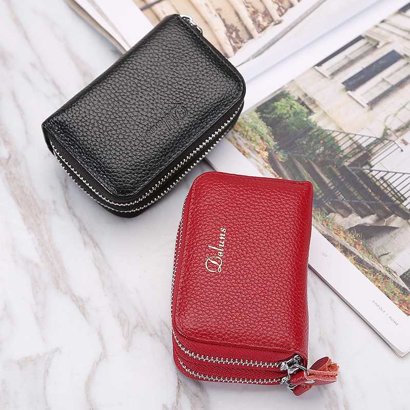 New leather key bag for men and women multi-functional double zipper small money bag top layer cowhide change key bag