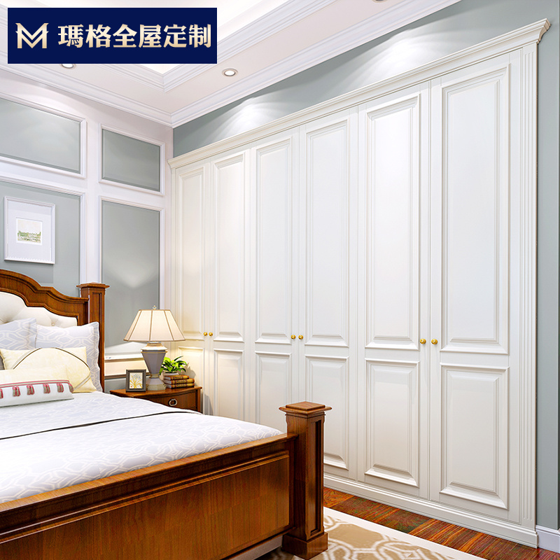 玛格定制家具 整体衣柜定制衣柜 EM03欧式膜压开门衣柜 定制衣橱
