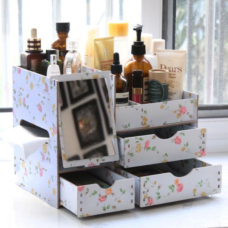 包郵木質化妝品收納盒 桌麵收納盒化妝盒辦公桌梳妝台置物架木盒