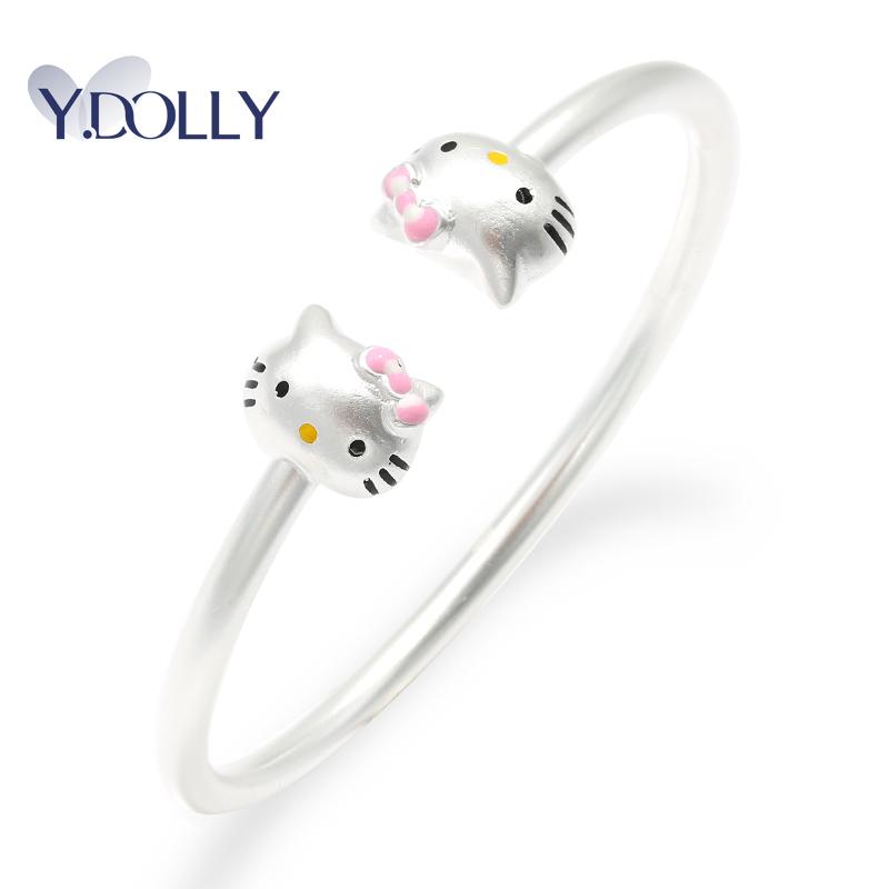 足银990纯银手镯女Kitty可爱凯蒂猫亲子款宝宝婴儿童镯礼物B7097