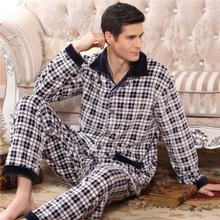 Daily specials qiu dong season old coral fleece flannel pajamas plus-size men smoking jackets