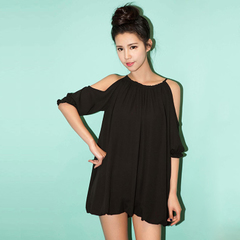 Postage QUEENZZ Europe and aristocratic air spring/summer new style strapless strap round neck long chiffon shirt dress