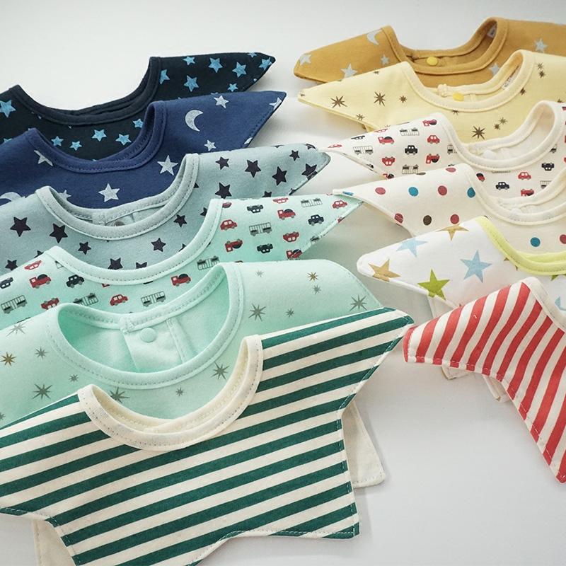 3条装婴儿纯棉口水巾新生儿360度旋转围嘴防水按扣围兜宝宝防吐奶