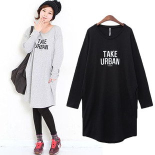 Dongguk door loose long section of thick cotton long sleeved shirt Autumn Korean fashion ladies T shirt letter T shirt