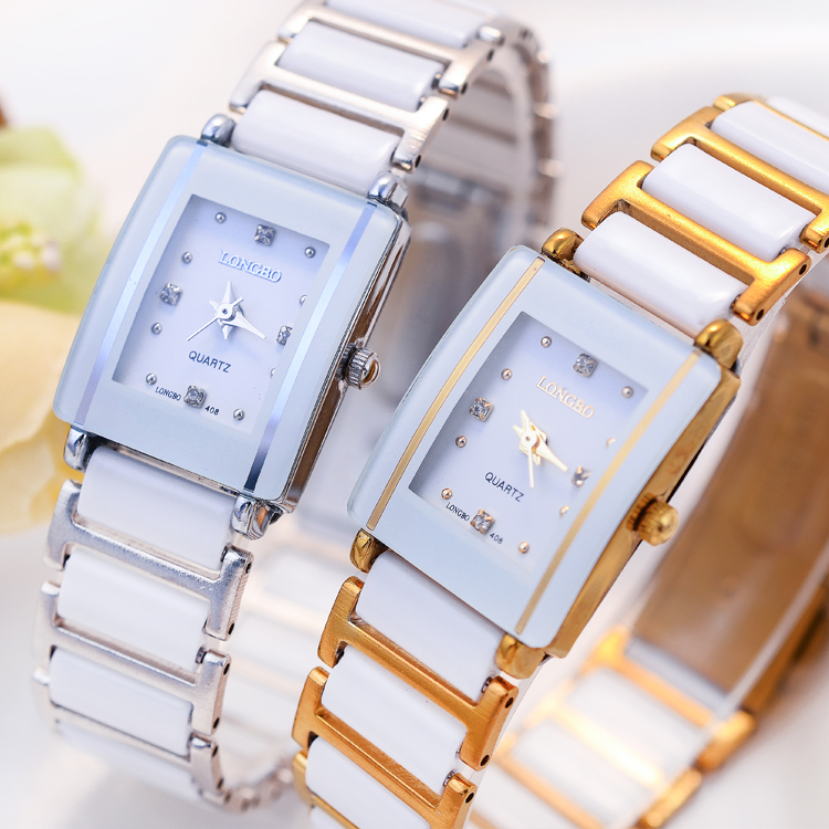 韓国の金の女性用腕時計ホワイトセラミック腕時計女性用クォーツ時計