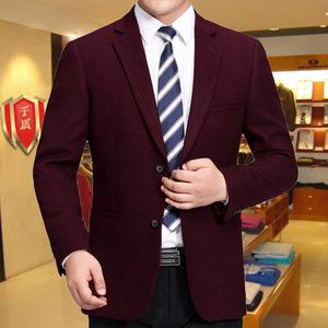 中年男士羊毛料厚款西装外套千盾秋冬男装休闲商务西服纯色单西