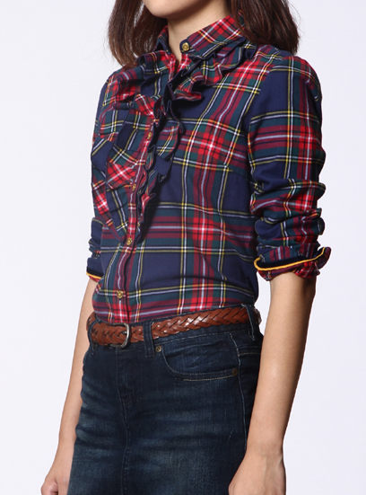 Autumn and winter authentic Korean Ruffle Lapel cotton frosted slim Long Sleeve Plaid Shirt TW bottomed blouse women