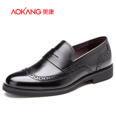 Aucom 2015 men men's business dress shoes real leather trend Brock carved of England men's shoes