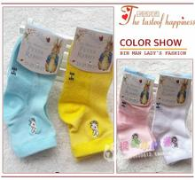 Japan's foreign trade children's socks cotton paragraphs spring mesh embroidery thin Peter rabbit children socks private label