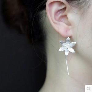 原创手工气质耳饰耳线莲花耳环耳钉女首饰925银饰品耳坠长款礼物