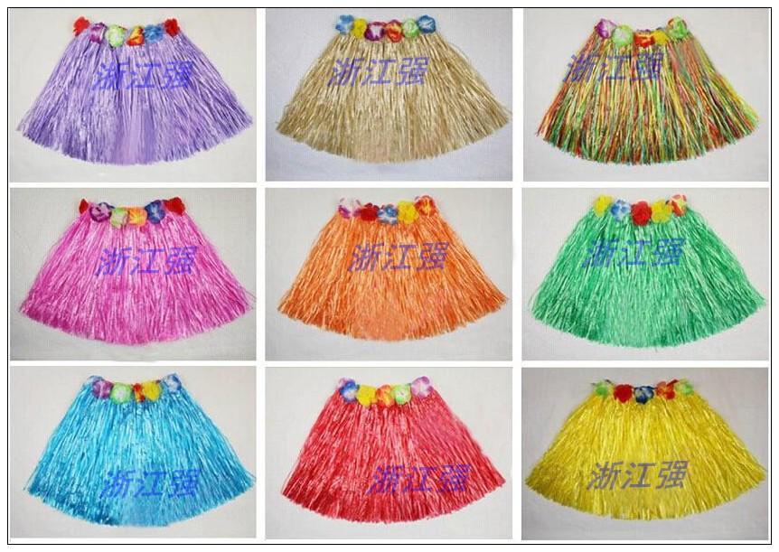 Юбки танец наряд для взрослых ребенок юбки эластичность талия танец гавайи танец одежда 30 см многоцветный