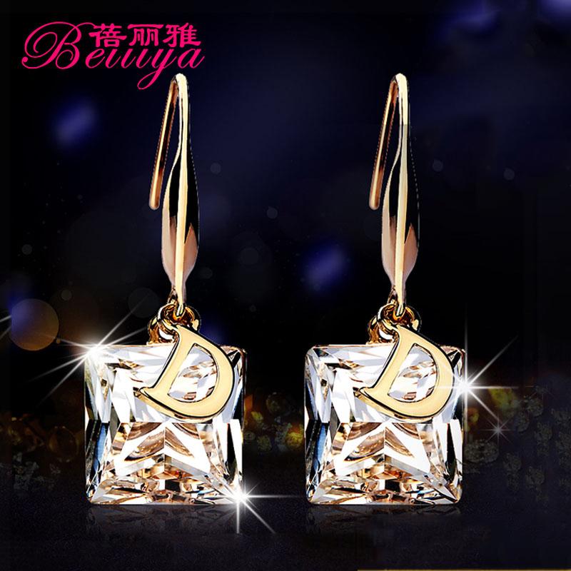 Я преувеличены Корейский кристалл серьги длинные прохладно c d женщины темперамент Серьги Серьги корейских моды гипоаллергенный-ла-Прери