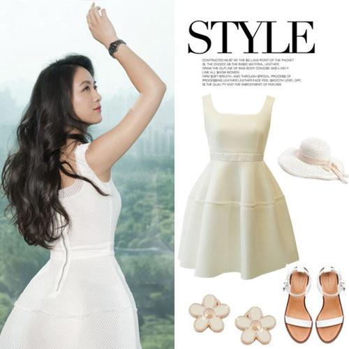 汤唯同款白色蓬蓬伞裙 简约时尚 知性优雅