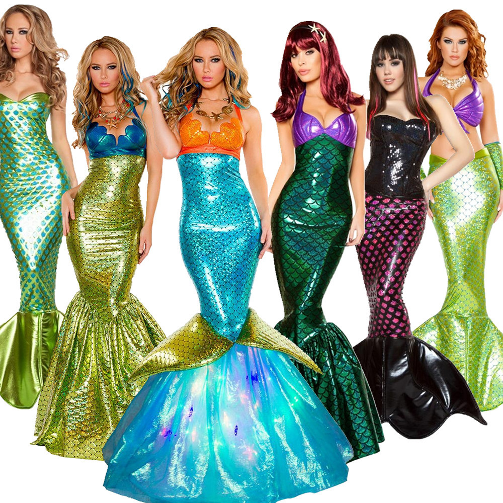 Halloween Costume Adult Mermaid role play costume princess skirt sexy wrap chest evening dress DS performance Costume