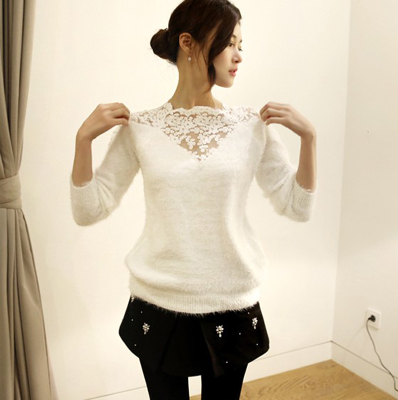 Spring womens wear Korean bottom lace Pullover round neck hook flower loose 3 / 4 Sleeve Sweater