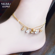 Mu-Mu bells imitate diamond jewelry anklet female Korean, Japan and South Korea contracted 2015 new double-layer hypoallergenic accessories