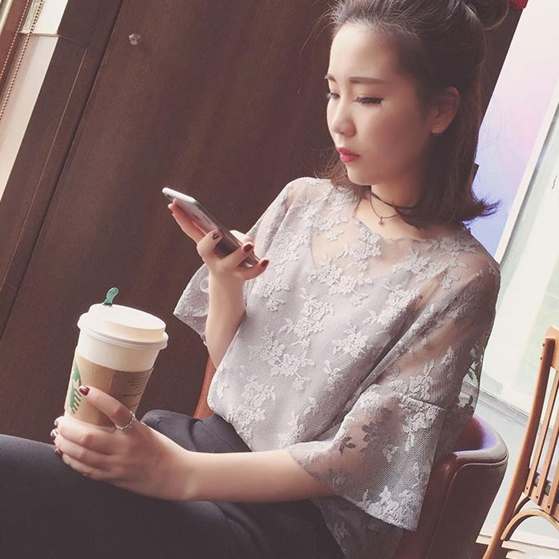 衣服女春夏裝2017新款韓版半袖性感蕾絲上衣女寬鬆短袖雪紡T恤潮