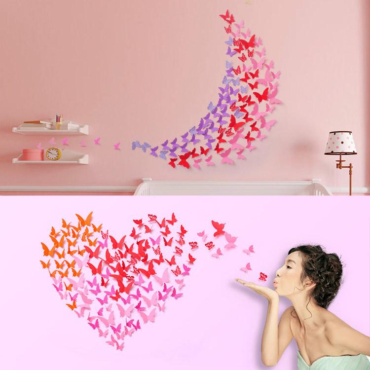 仿真蝴蝶3d立体墙贴自粘可移除客厅贴画浪漫满屋创意装饰房间贴纸