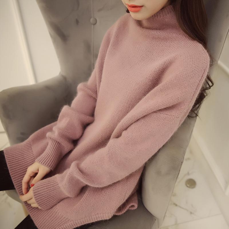 女装连衣裙秋冬款2017新款半高领中长款毛衣女外套宽松蝙蝠衫套头