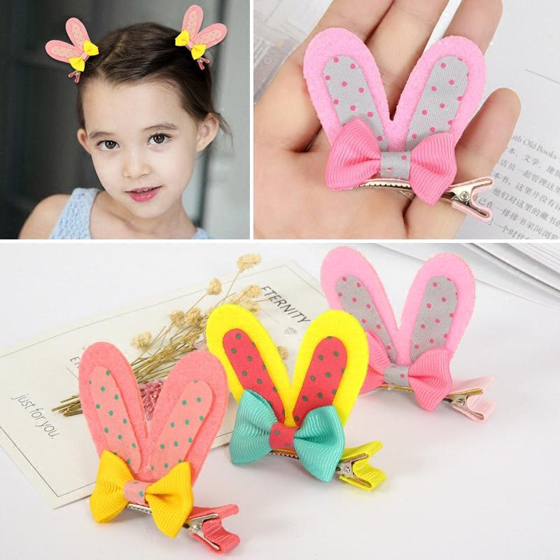 韩国儿童发饰蝴蝶结女童兔耳朵发夹小女孩宝宝发卡头饰品可爱发夹
