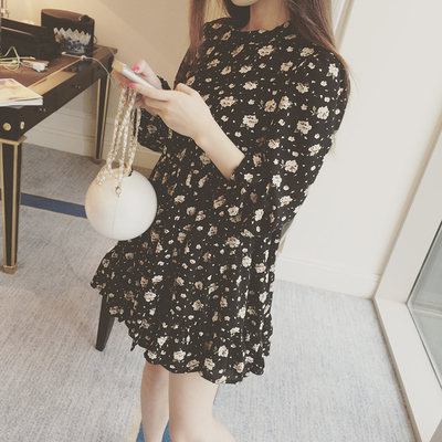2015 couture autumn collection Han Fan retro floral bubble shoulder chiffon dress