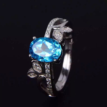 Natural magnesium aluminum garnet Shi Ruishi blue topaz stone color treasure jewelry 925 sterling silver ring female model