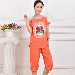 Gore plum silk pajamas spring and summer Women cotton casual short sleeved pajama pants lady was thin cotton silk fashion