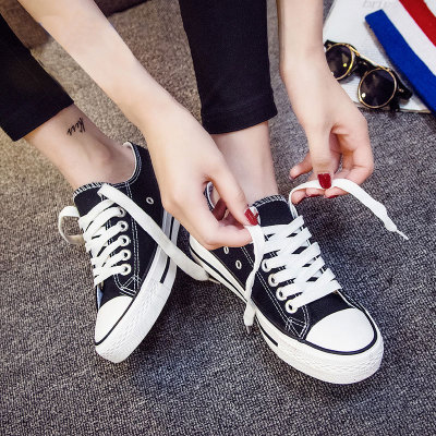 夏季球鞋新款小白帆布女鞋2019黑色板鞋韩版秋季百搭潮鞋学生布鞋