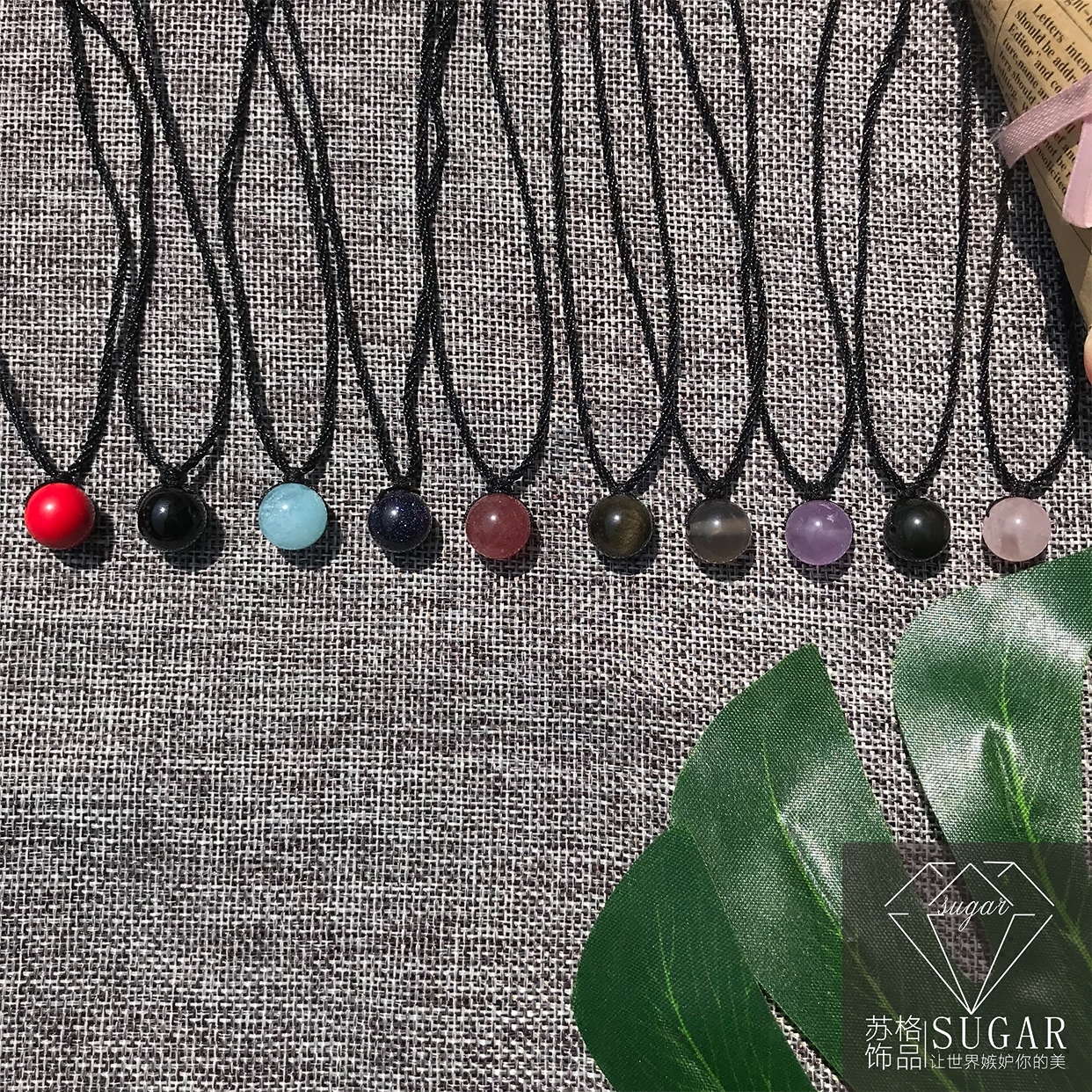 Natural strawberry, peach blossom, amethyst, financial aid, Wangcai transfer bead, clavicle necklace, female and male student Pendant Gift