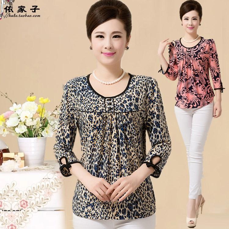Средний и старых пожилых женщин весной и летом 7-рубашка МАМА стрейч среднего в возрасте дамы малых рубашка 30-40-50-60