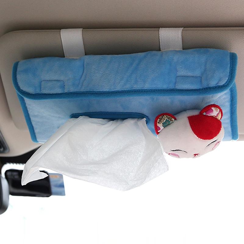 卡通車載紙巾盒汽車遮陽板紙巾抽掛式天窗椅背布藝抽紙盒飾品