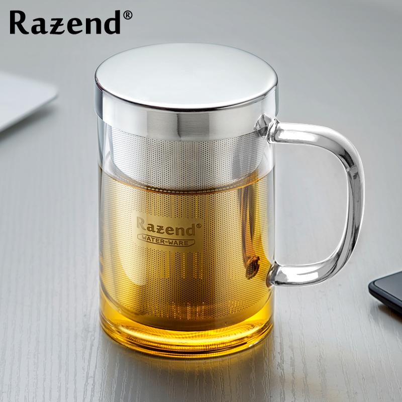 RAZEND 耐熱玻璃杯過濾花茶杯辦公室帶蓋加厚 玻璃水杯帶把泡茶杯