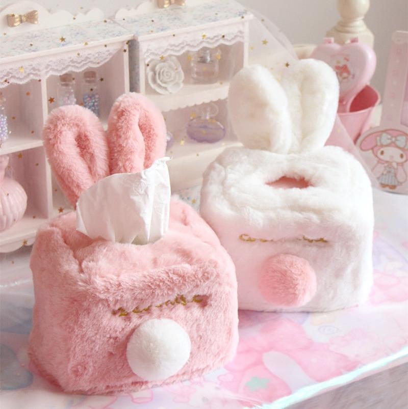 Бесплатная доставка милый плюш сфера кролик уши бумажные полотенца крышка мягкий сестра комната декоративный розовый насосные коробка ткань