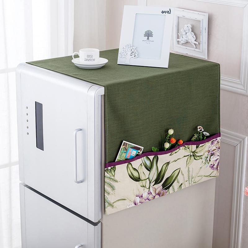 布藝冰箱罩多花色田園冰箱蓋巾韓式冰箱簾雙單開門可愛冰箱防塵罩